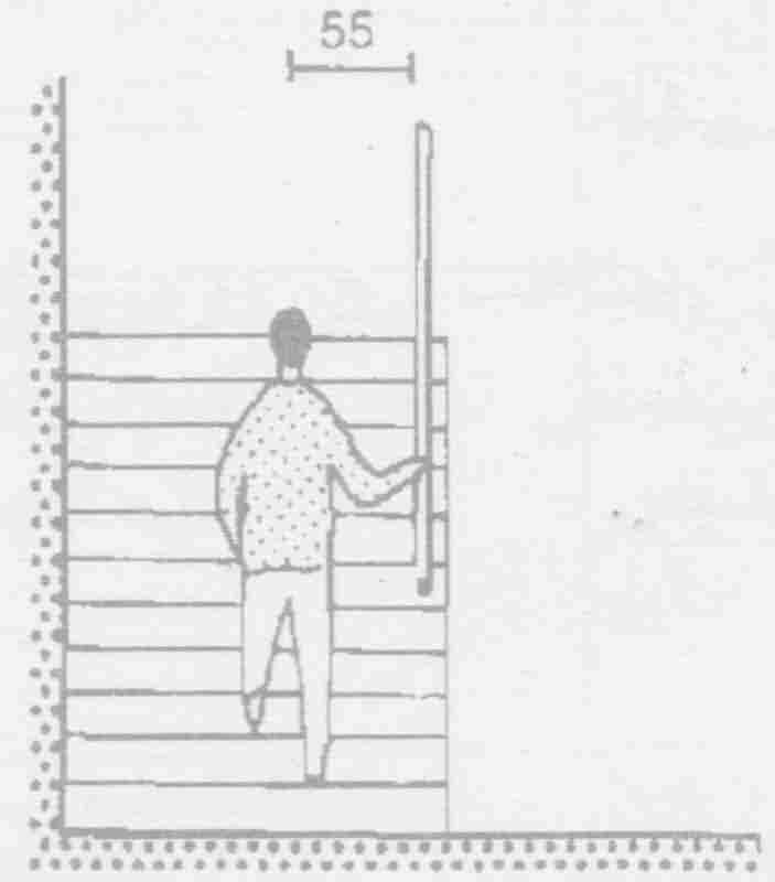 برای پله های مستقیم فاصله خط حرکت با نرده 55 سانت باید باشد